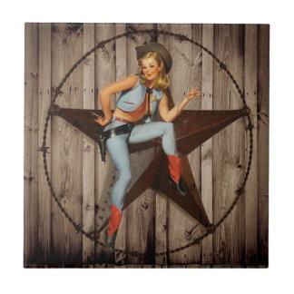 Cow-girl en bois de pays occidental d'étoile de petit carreau carré