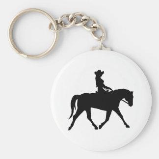 Cow-girl montant son cheval porte-clé rond