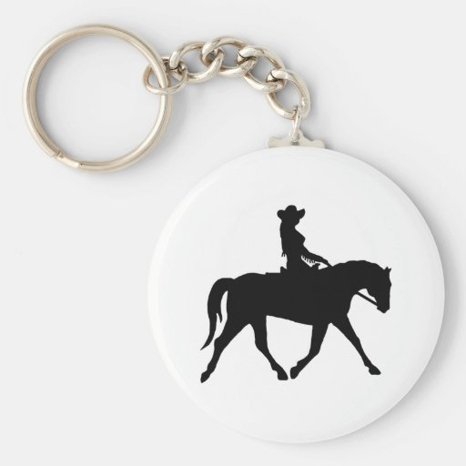 Cow-girl montant son cheval porte-clés