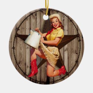 cow-girl rustique de pays occidental d'étoile de ornement rond en céramique