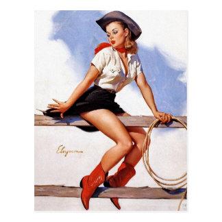 Cow-girl sur un Pin- de barrière Carte Postale