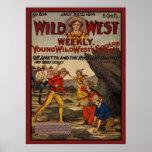 Cow-girls occidentales sauvages de cowboys de vole affiches