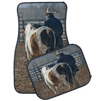 Cowboy avec l'ensemble de cheval de 4 tapis de tapis de voiture