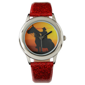 Cowboy-Cowboy-soleil-occidental-pays de coucher du Montre