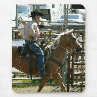 Cowboy de rodéo à cheval tapis de souris
