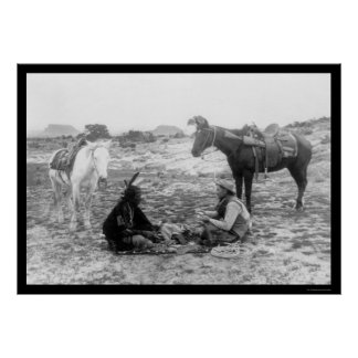 Cowboy et Indien 1915 de cartes de jeu Affiche