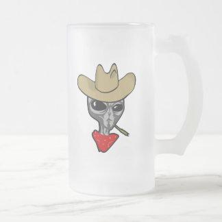 Cowboy étranger frosted glass beer mug