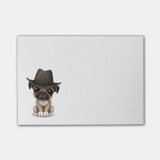 Cowboy mignon personnalisable de chiot de carlin post-it®