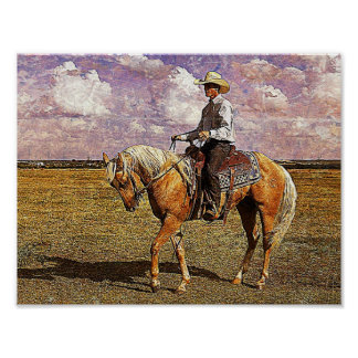 Cowboy occidental sur le cheval de palomino poster