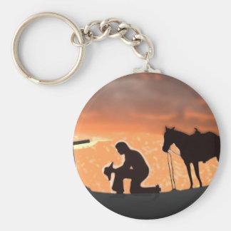 Cowboy seul porte-clé rond