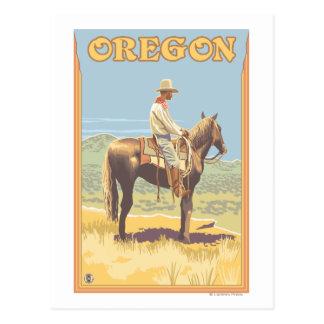 Cowboy sur l'affiche vintage de voyage de carte postale