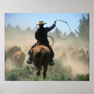 Cowboy sur le cheval avec le lasso conduisant des  affiche