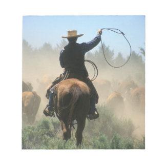 Cowboy sur le cheval avec le lasso conduisant des  blocs notes