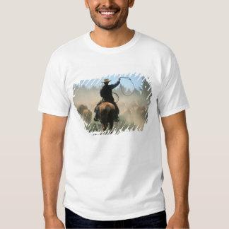 Cowboy sur le cheval avec le lasso conduisant des t-shirt