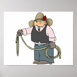 Cowboy tenant une affiche de lasso