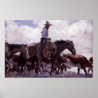 Cowboy vintage avec son troupeau de bétail par posters