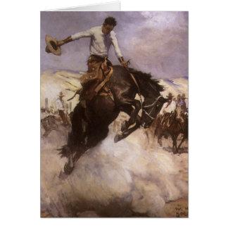 Cowboy vintage de rodéo, équitation fraîche par cartes