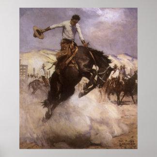 Cowboy vintage de rodéo, équitation fraîche par poster