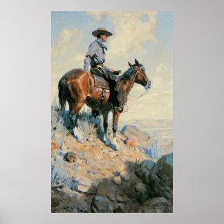 Cowboy vintage, sentinelle des plaines par Dunton Posters