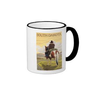 Cowboy (vue de dos) le Dakota du Sud Mug Ringer