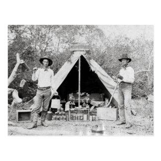 Cowboys dans le camp, 1890 carte postale