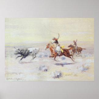 Cowboys de la triangle de barre par cm Russell Posters