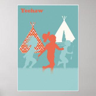 Cowboys et affiche d'impression d'art d'Indiens Poster
