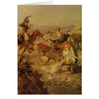 Cowboys vintages, lancés vers le bas par cm carte de vœux