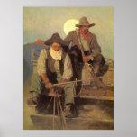 Cowboys vintages, l'étape de salaire par OR Wyeth Poster