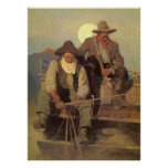 Cowboys vintages, l'étape de salaire par OR Wyeth Posters