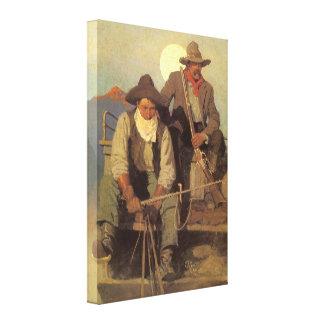 Cowboys vintages, l'étape de salaire par OR Wyeth Toile Tendue Sur Châssis