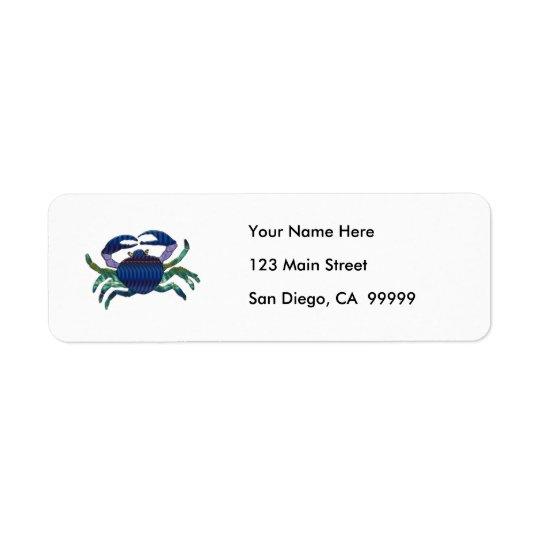 Crabe bleu émaux étiquette d'adresse retour