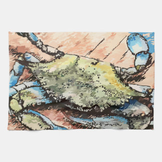 Crabe bleu linge de cuisine
