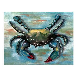 Crabe bleu sur le bleu carte postale