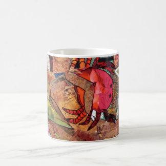 Crabe, collage, tasse de café, tasse