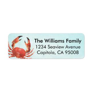 Crabe côtier personnalisé étiquette d'adresse retour
