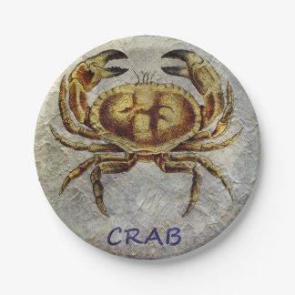 Crabe de vie marine sur le bleu et la crème assiettes en papier