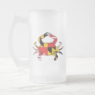 Crabe du Maryland Frosted Glass Beer Mug