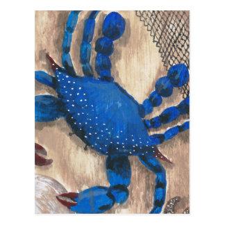 Crabe et filet carte postale