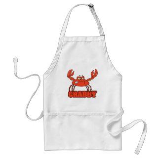 crabe rouge désagréable drôle avec une attitude tablier