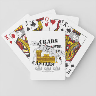 Crabes au-dessus des châteaux cartes à jouer