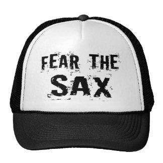 Crainte drôle le casquette de saxo