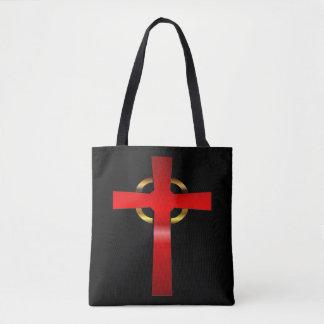 Cramoisi et croix celtique d'or sac