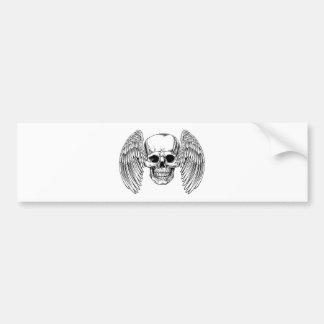 Crâne à ailes par faucheuse autocollant de voiture