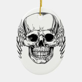 Crâne à ailes par faucheuse ornement ovale en céramique