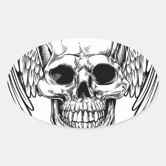 Crâne à ailes par faucheuse sticker ovale