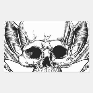 Crâne à ailes par faucheuse sticker rectangulaire