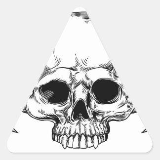 Crâne à ailes par faucheuse sticker triangulaire