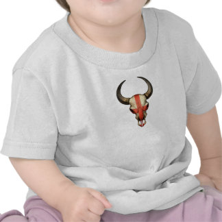 Crâne anglais de Taureau de drapeau T-shirts