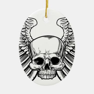 Crâne avec des ailes ornement ovale en céramique